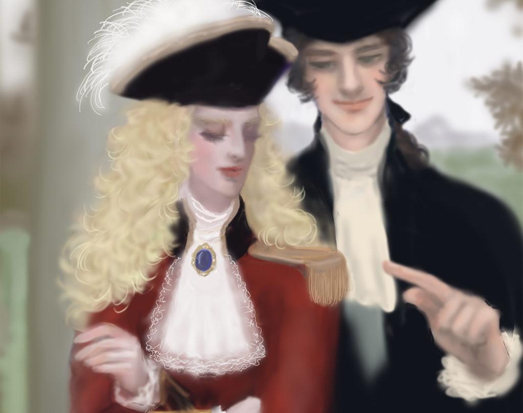 18世紀風三角帽子をかぶっている二人
