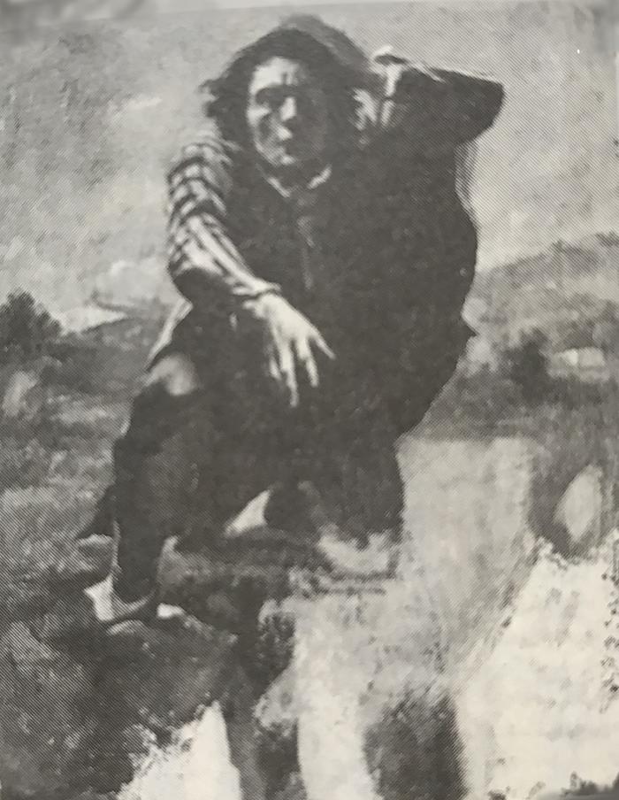 」不安のあまり狂気になった男」ギュスターヴ・クールベ画